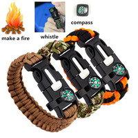 Wholesale Outdoor Survival Bracelets in Gear Kits Escape Paracord Bracelet Flint Whistle Compass Scraper for Hiking Camping Fast Shipping