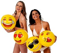 beach toys for adults - Inflatable Emoji Ball PVC Inflatable Beach Balls Inches Pack Beach Water Balloons For Kids and Adult Outdoor Play