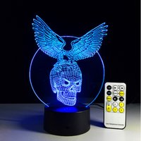 aa remote - Creative gift Eagle with Skull D illusion LED Lights Acrylic Panel Colors change AA Battery Or USB V remote controller