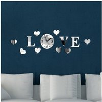 analog love - Modern Fashion DIY Large Wall Clock D Mirror Sticker Quartz Creative Heat shaped Love Clock Home Wall Decor
