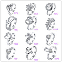 Wholesale Deals Lady Fashion sterling Silver Multi Charms Heart Rhinestone Dazzling zircon crystal female rings wedding ring Good Gift Size