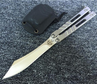 ab k - Brand New benchmade DESPERADO AB Balisong folding Knife cr HRC Full Steel Gift Collection Knife With K Sheath