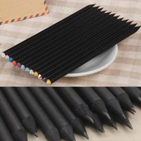 Wholesale 20pcs High Quality Black Wood Wooden HB Pencil Practical Writing Pens Student Stationery Material Escolar