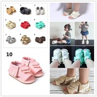 Wholesale Harper Seven Style Baby PU Leather Shoes Moccasins Soft Shoe Open Toe Handmade Sandel Tassel Toddler shoes A0167