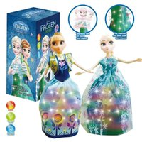 Wholesale Zorn toys Frozen Anna Elsa Barbie doll Electric dancing twist cartoon Plastic doll Christmas kids gifts sound and light