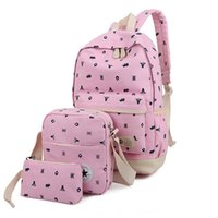 Wholesale 2016 Printing Backpacks Set Canvas Animal Prints Candy Color Cute School Bags For Teenage Girls