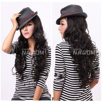 Wholesale T0010 Long Wavy Dark Brown Wigs For Women in Length Synthetic Hair Adjustable Cap Hot Selling