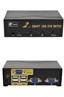 auto kvm - 2 Port Auto Smart USB VGA KVM Switch with Remoter Switcher High Resolution
