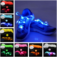 Wholesale 7 Colors LED Lamp Flashing Shoe Lace LED Shoelaces Luminous Shoe Laces Light Up Flash Glowing Shoeslace