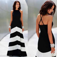 Wholesale 2016 Women Hot Fashion Black and White Stripe Splicing Backless Sleeveless Dresses Floor Length Long Casual Party Maxi Dress