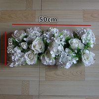 arch tables - New simulation silk white rose Hydrangea flower grass wedding table decorations wedding road lead flowers wedding arch flowers