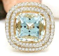 aquamarine diamond engagement ring - 9 CT NATURAL AQUAMARINE AND DIAMOND ENGAGEMENT RING K SOLID YELLOW GOLD