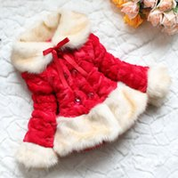 Wholesale Christmas Kid Girl Coat Clothing Winter Children Bow Faux Fur Warm Thicken Outwear Jacket Costume Clothes