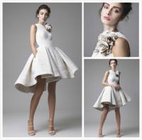 art deco hand - 2016 Krikor Jabotian Short Cocktail Dresses Lace White Ruffles D Handmade Floral A Line Party Dresses Evening Sweet Party Vestidos