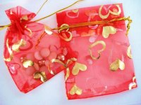 Wholesale 200 cm x cm Red Organza Gift Bags With Golden Heart Wedding Favor Party Jewelry Pouchs