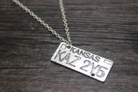 antique license - antique silver plated Supernatural Dean of the License Plate charm pendant Necklace