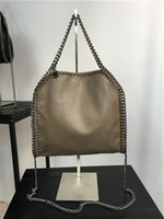 Wholesale size cm high quality women pvc chain handbag gray chains crossbody fold over ladies tote shoulder bags