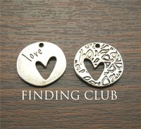 Wholesale 20 antique silver color zinc alloy x22mm round heart charm Pendants Necklace Beads DIY A1171