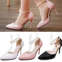 Wholesale Chain Ankle Strap High Heel - 2016 Ziyuxiang Pearl Sandals Pointed Toe Stilettos High Heels Pearl Chain Ankle Strap ShoePumps 6 cm 9 cm New Summer Sexy Wedding Party