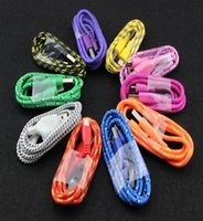 Wholesale micro usb cable fast charge m m m Fabric Braided Nylon Data Sync USB Cable ft ft ft Cord Charger Charging samsung s4 s5 S6 HTC etc