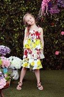 al por mayor vestidos juveniles para niñas-2016 las muchachas limones acodaron vestidos sin mangas de la alta calidad de la ropa del verano de los niños de los cabritos de los cabritos de los vestidos para la juventud los 100-150cm