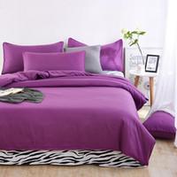 al por mayor púrpura del edredón de la reina-Venta al por mayor-2016 conjuntos de ropa de cama Zebra hoja de cama y púrpura Duver Edredón Funda de almohada suave y cómoda King Queen Full Twin Buena calidad