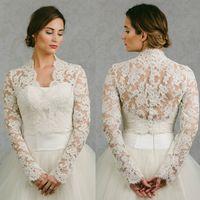 cape coat plus size - Hot Sale Bridal Wraps Long Sleeves Bridal Coat Lace Jackets Wedding Capes Wraps Bolero Jacket Wedding Dress Wraps Plus Size