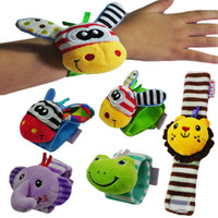 Wholesale 0 years old baby educational toys infant children watch band wrist strap plush doll toy rattles