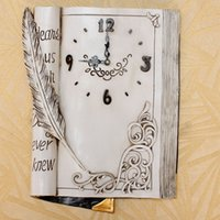 Wholesale Hot Sell Resin Creative Book Shape Wall Clock Vintage Home Decor Fashionable Creative Suitable For Study Room