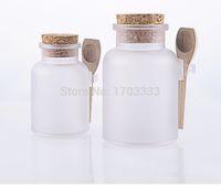 Wholesale 150Set g bath salt ABS Bottle ml powder plastic bottle facial mask power botlle with wooden spoon DHL Free ship JY536
