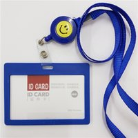 Wholesale PVC ID Badge Holder Accessories Horizontal Vertical Credit Card Bus Cards Case Papelaria Stationery School Supplies With Lanyard
