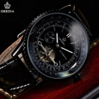 automatic classic cars - car Classic ORKINA Tourbillion Black Automatic Steampunk Luxury Elegant Genuine Leather Strap Business Mens Mechanical Watch ORK168