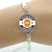 best football pictures - Retro american football world campus art picture bracelet new fashion rugby best team bracelets football sport fans gifts NF088