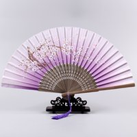 bamboo fabric china - 32 Kinds of Fan China Wind Lady Fan Assorted Colors Flower Designon The Chinese Hand Fans Imitation Silk Fabric New Arrival