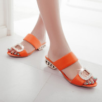 Wholesale Cheap Open Toed Heels - 4colors 2016 summer cheap plus size 32-43 low square heel solid slip-on open toe rhinestone ladies office scuffs shoes women slippers A86