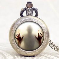 best american watches - The Walking Dead Theme Zombie Design Glass Dome Bronze Quartz Pendant Pocket Watch Best Gift To American Drama Fans