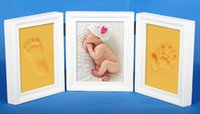 baby keepsake frames - 4 Colors Baby Hand Print Ink Pad Photo Frame Casting Kit Keepsake Babies Gift Christening New Hot Selling