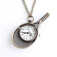 antique tennis racket - 100pcs DHL Vine Bronze Cartoon Tennis Racket Quartz Pocket watch Necklace Creative Personality Gift Watch