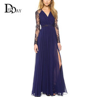 embroidery work - 2016 Summer New Chiffon Maxi Dresses Elegant V neck Lace Embroidery Long Sleeve High Split Sexy Party Dress XXL