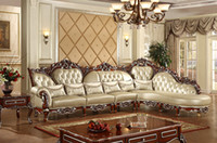 antique leather sofas - Antique Genuine Leather Chaise Lounge Sofe Carving Gold Drawing Indoor room Furniture Luxury L Shaped combination Sofa Solid Wood Furniture