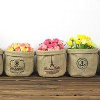 Wholesale 2016 Japanese Style Creative Home Zakka Cotton Linen Storage Baskets Can be Hung Blue Flower Basket Desk Sundries Storage Bag
