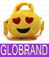 Wholesale LAI DHL Free Emoji Plush Bags Cartoon Kids Bag cm Children Handbags Shoulder Bag Cute Emoji Smiley Bag Round Emoji Snack Bags Emoji Plush