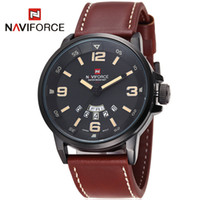 analog display - Sports Watches Luxury NAVIFORCE Brand Genuine Leather Analog Display Date Men s Quartz Watch elogio masculino Men Wristwatch