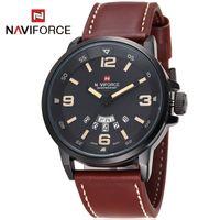 date - Sports Watches Luxury NAVIFORCE Brand Genuine Leather Analog Display Date Men s Quartz Watch elogio masculino Men Wristwatch
