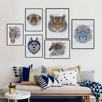 african posters - Ancient African National Animals Head Deer Lion Art Prints Poster Living Room Wall Picture Canvas Painting No Frame Home Decor