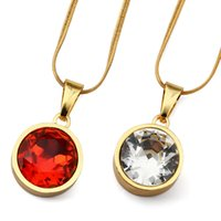 america punk - 2016 Newest America Supreme Gem Red Gemstone Round Pendants For Men Women Trendsetter Rap Hip Hop Necklace Street Dancing Punk Chains Bijoux