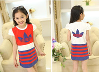beach stripe fabric - Puff cotton fabrics stripes girl summer dress aged children beach dress casual baby clothes factory outlets A11