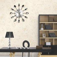 Wholesale 3D Home Decor Quartz DIY Wall Clock Cutlery Clocks Horloge Watch Living Room Metal Acrylic Mirror Kitchen Inch