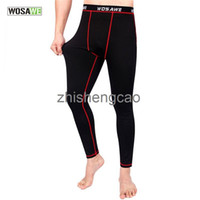 Wholesale WOSAWE Men Long Jhons Only Tights Pant Base Layer Skins Running Run Fitness Excercise Bicycle Bike Pants Gear Cycling Clothing