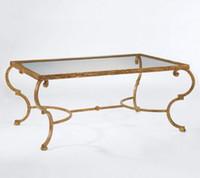 art glass hardware - American art hardware toughened glass tea table Creative tea table Rectangular coffee table